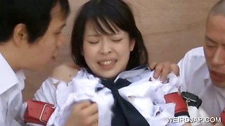 Asian teenie tied up for sexual teasing