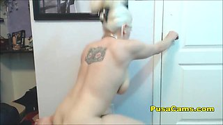 Busty Midget Gamer Fucking Gym Ball With Dildo