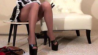 Wacky Maid in Suntan Pantyhose