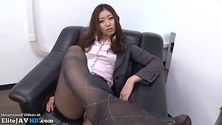 Jav office interview with sexy boss turns in pantyhose sex