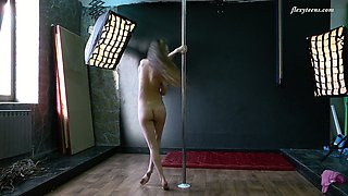 Hot pole dancing show performed by flexible and charming Christina Toth