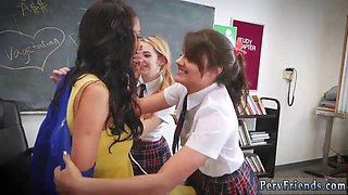 Brings compeer home threesome first time After School Detention