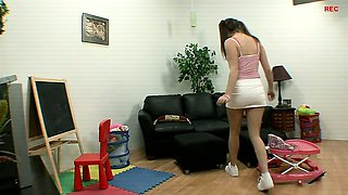 Naughty babysitter Tori is caught working out naked in my