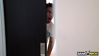 Sex bomb Ava Addams catches Peter Green spying on her in the bathroom