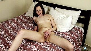 Horny amateur Annet takes off her panties to pleasure her cunt