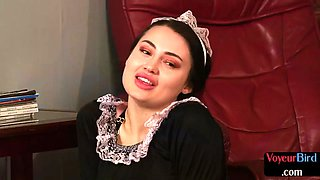 French maid cfnm dom teasing body for her jerking sub