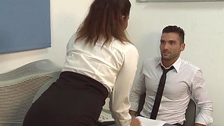 Rough dicking in the office with slutty Charlys Bella and her boss