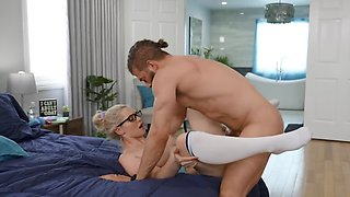 Stiff cock plows wet pussy of a busty blonde in classy styles