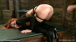 Redhead MILF gets corporal punishment