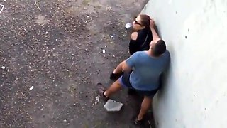 Voyeur spies on a hot milf getting fucked doggystyle outside