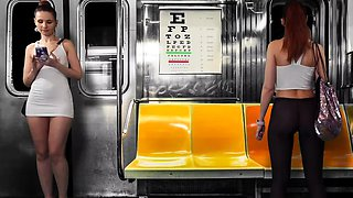 Upskirt Flashing in Subway. Virtual reality with Jeny Smith