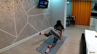 Step Brother Fucked His Stepsister During Yoga Time.ripped Leggings With Beautiful Pussy - Squir7een