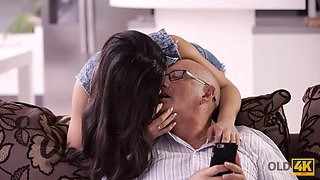 OLD4K. Skilled old man analyzes his busty girlfriend in various positions