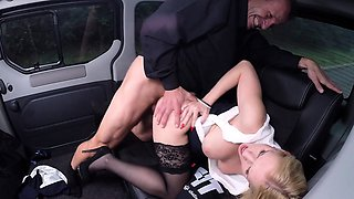 FUCKED IN TRAFFIC - Hot Italian blonde rides cock in the car