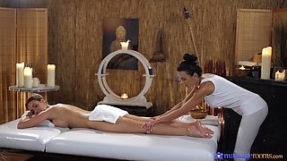 Erotic lesbo sex on the massage table - Shalina Devine and Emily Bright