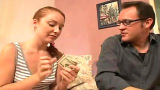 Daddy Pays Supplementary For Redhead Babysitter Tobi's Ginger Minge