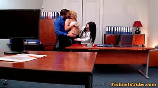 2 Exciting Secretaries Have Threesome Sex In Off - Dark Hair Girl