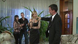 High class blonde Regina Moon cum sprayed at an orgy party