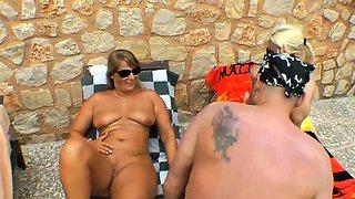 Pool guy fucks 3 milfs on vacation on Mallorca