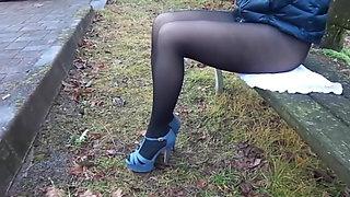 Heels and black pantyhose