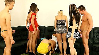 Six teen bachelorettes sharing cocks of male strippers