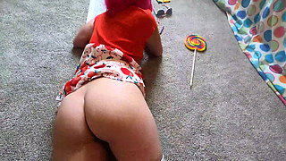 Stepbrother checks on sister and makes her suck his dick