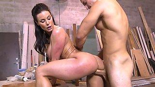 Superb dark haired slut Kendra Lust riding a terrific meat pole
