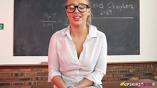 Shy teacher in glasses Beth takes off panties and shows off her plump pussy