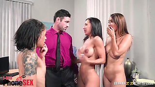 Mia Malkova, Holly Hendrix And Charles Dera - And Her Two Girlfriends Are Fucking One Guy