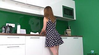 Desirable solo girl Daisy Devine drops her dress to masturbate