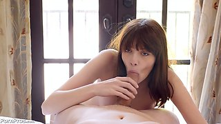 Greedy for semen chick Lena Anderson gives a great blowjob and gets fucked