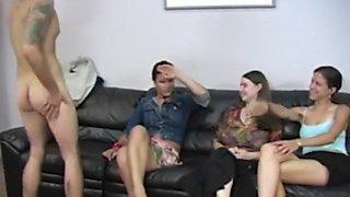 Three Clothed Females Enjoying Naked Man