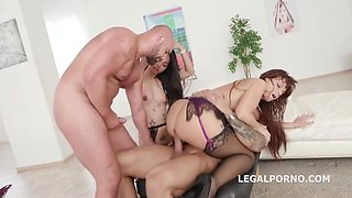 Syren De Mer and Jureka Del Mar are having a foursome and moaning from pleasure while cumming