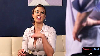 Busty voyeuristic femdom moans and spreads legs for JOI sub