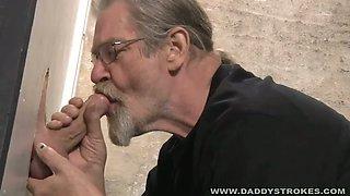 Daddy Sucking Glory Hole Cock