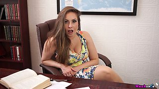 British bookkeeper Sophia Delane is dildo fucking her twat on the table