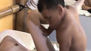 Lovely Oriental babe with a sweet ass gets pounded by a horny midget