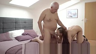 DADDY4K. Grey-haired old dad makes love to tender young ange