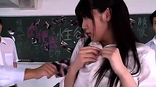 Big breasted Japanese teacher gets used by horny students