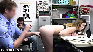 Scared teen shoplifter punish fucked in front of her BF