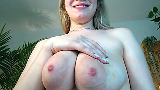 Blonde milking her big boobs small tits