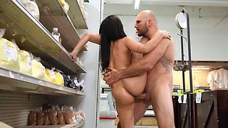 Asian store clerk finds a perfect dick for tight little pussy