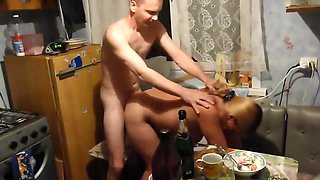 Drunk Russian wife gets cancer at the table and fucks with her husband's fr