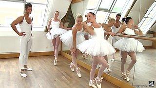 Three petite ballerinas are fucked by horny dance teacher during rehearsal