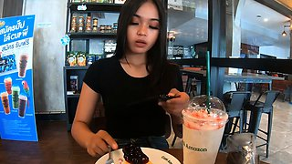 Cute amateur Thai teen sex in the hotel after Starbucks