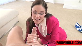 Samantha Ryan sucks cock and invites Chloe Foster to join her