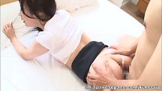 Hot Japanese AV model is a milf in ripped pantyhose