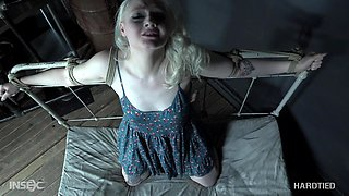Submissive blonde mature slave Arielle Aquinas loves getting abused
