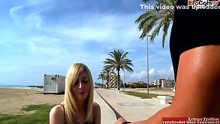Busty Sexy Blonde Spontaneously Joins Some Hot Spanish Outdoor Porn On A Truck