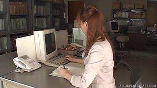 Dashing Japanese office babe fucks with her boss